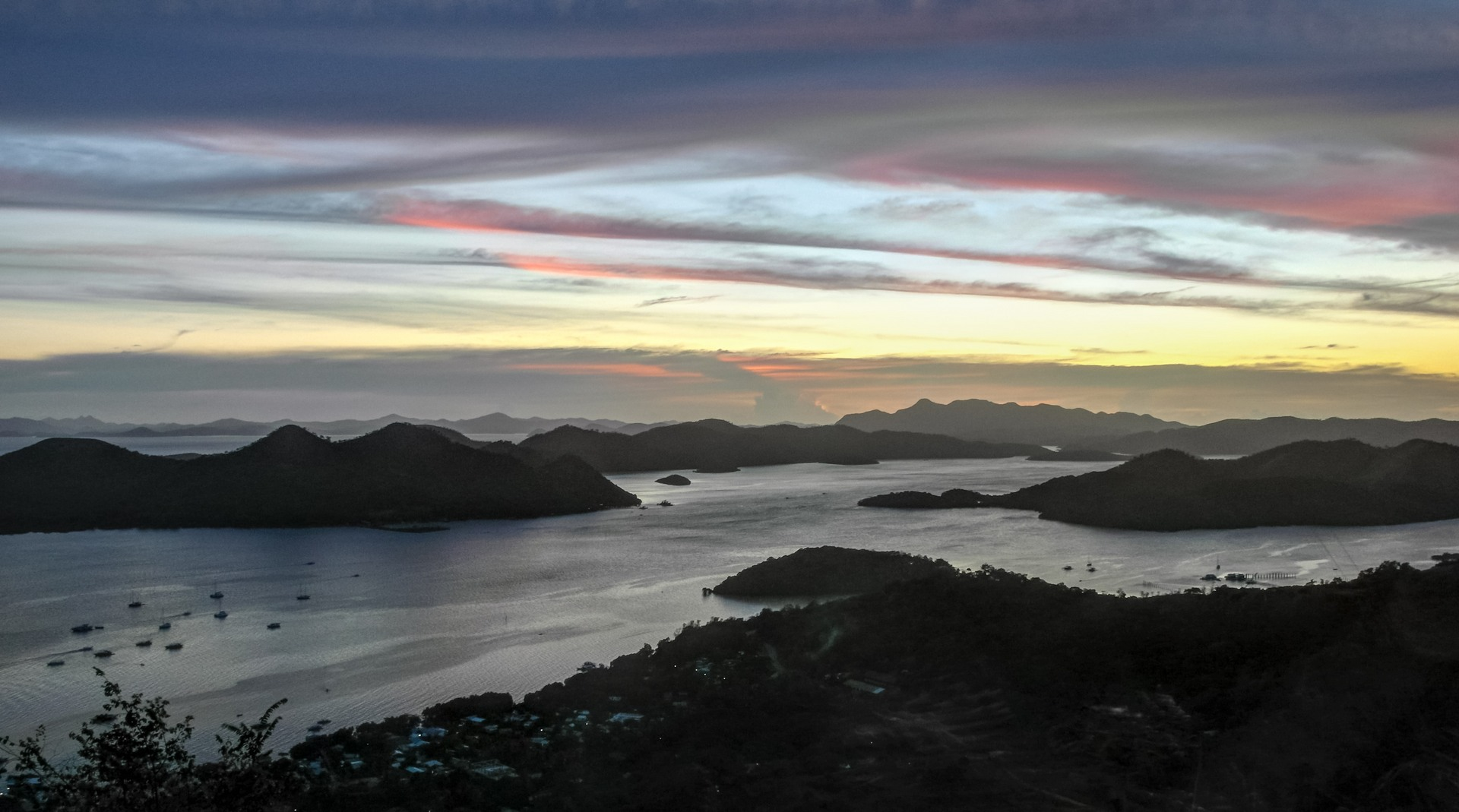 Sunset over the island of Coron, Philippines